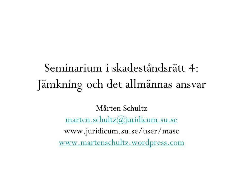 Seminarium i skadeståndsrätt 4: Jämkning och det allmännas ansvar