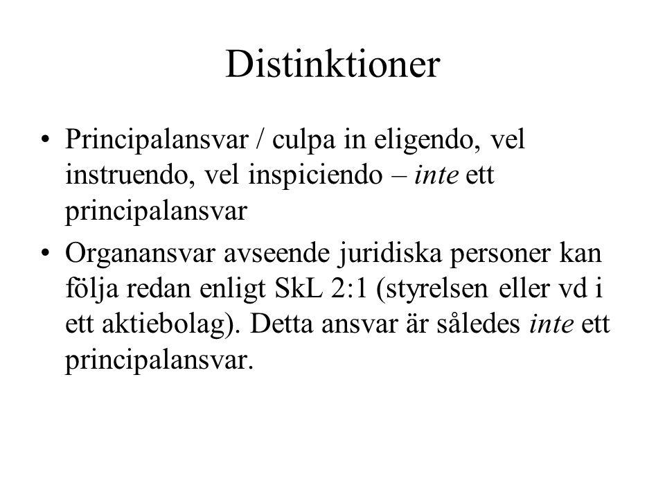 Distinktioner Principalansvar / culpa in eligendo, vel instruendo, vel inspiciendo – inte ett principalansvar.