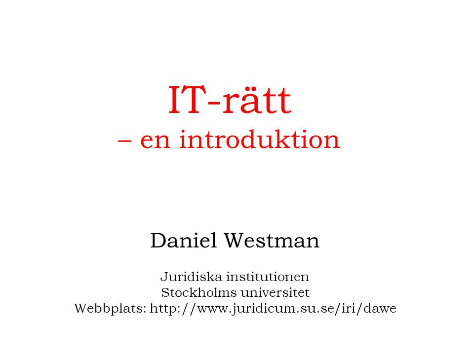 IT-rätt – en introduktion