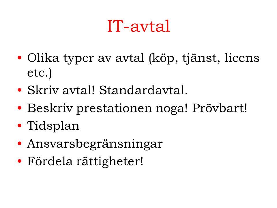 IT-avtal Olika typer av avtal (köp, tjänst, licens etc.)