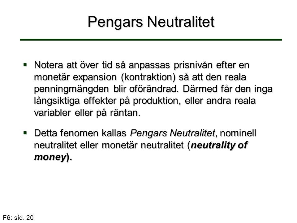 Pengars Neutralitet