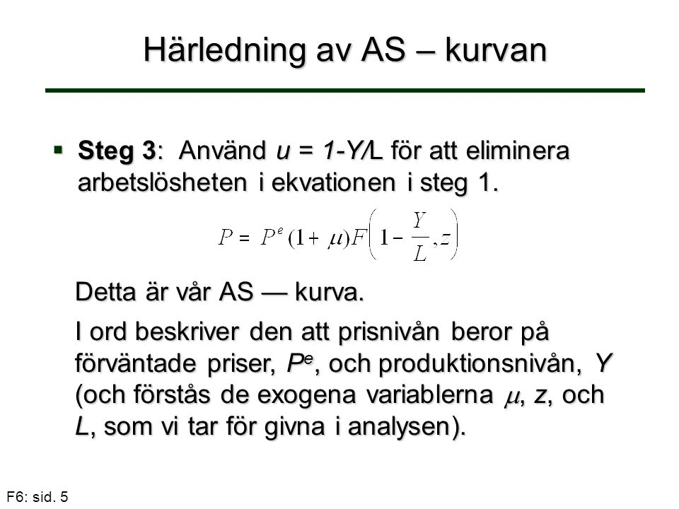 Härledning av AS – kurvan