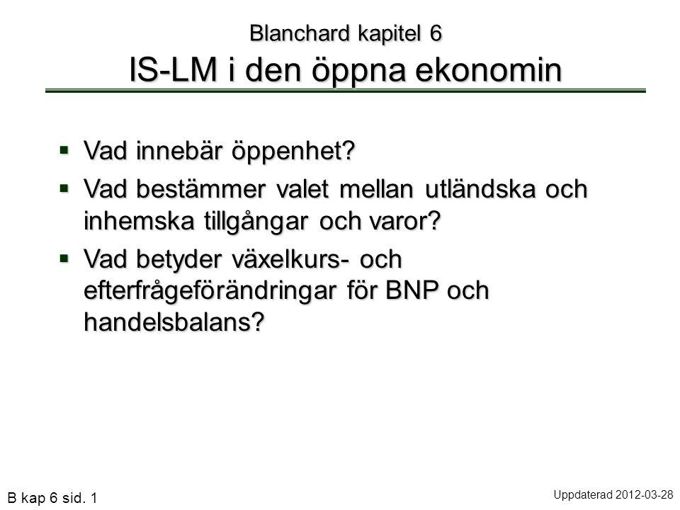Blanchard kapitel 6 IS-LM i den öppna ekonomin