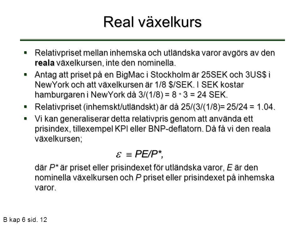 Real växelkurs Relativpriset mellan inhemska och utländska varor avgörs av den reala växelkursen, inte den nominella.