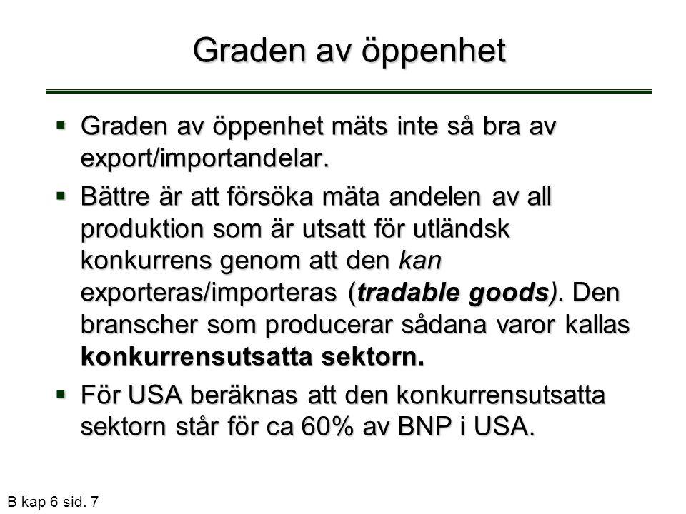 Graden av öppenhet Graden av öppenhet mäts inte så bra av export/importandelar.