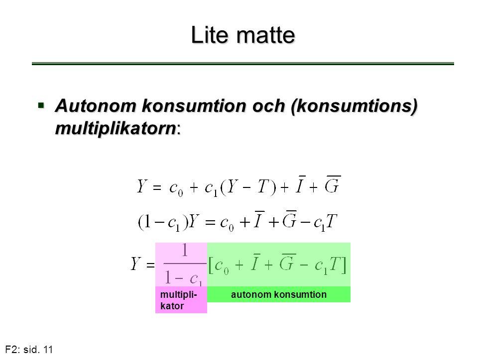 Lite matte Autonom konsumtion och (konsumtions) multiplikatorn: