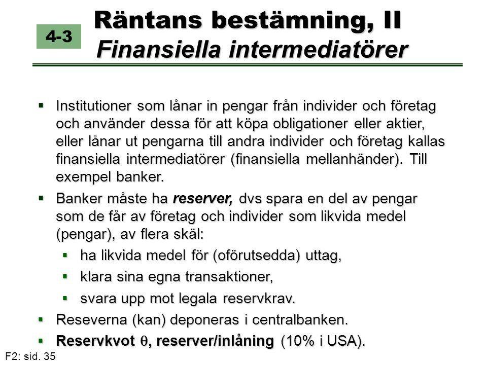 Räntans bestämning, II Finansiella intermediatörer