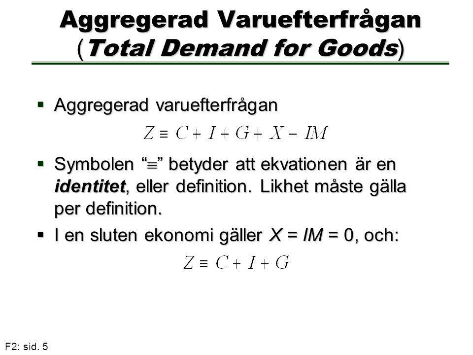 Aggregerad Varuefterfrågan (Total Demand for Goods)