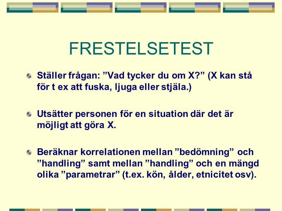 FRESTELSETEST Ställer frågan: Vad tycker du om X (X kan stå för t ex att fuska, ljuga eller stjäla.)