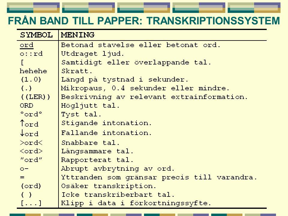FRÅN BAND TILL PAPPER: TRANSKRIPTIONSSYSTEM