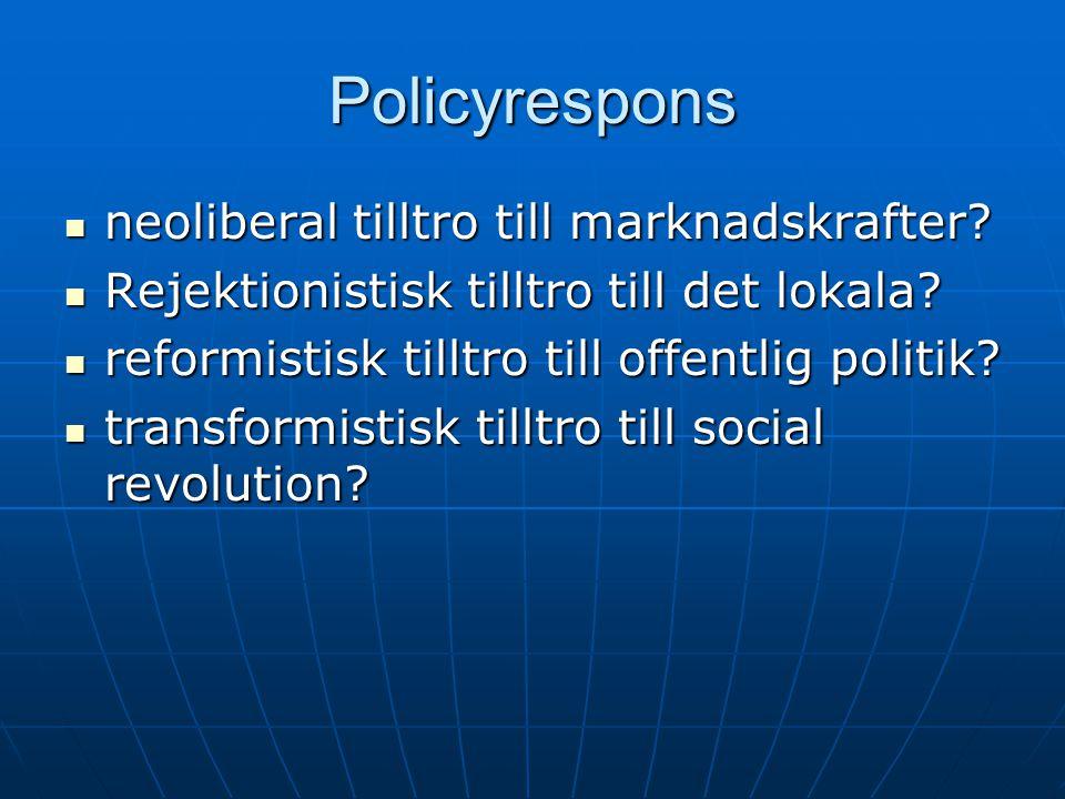 Policyrespons neoliberal tilltro till marknadskrafter