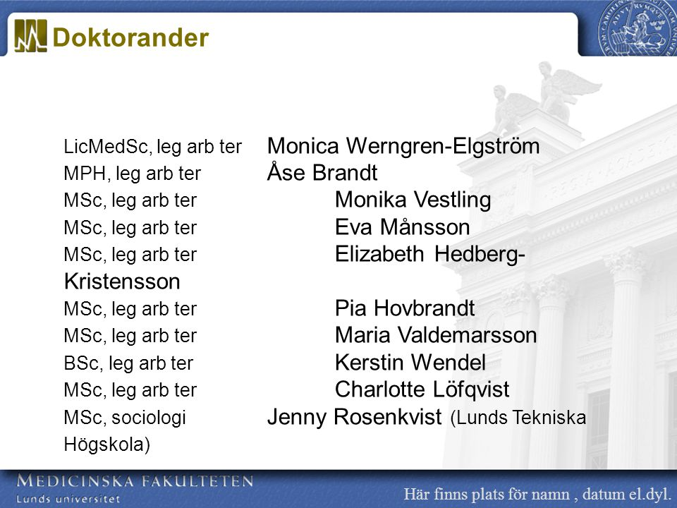 Doktorander LicMedSc, leg arb ter Monica Werngren-Elgström