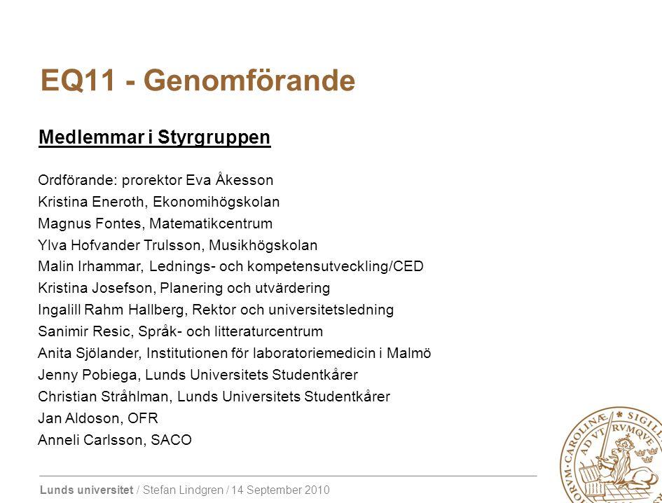 EQ11 - Genomförande Medlemmar i Styrgruppen