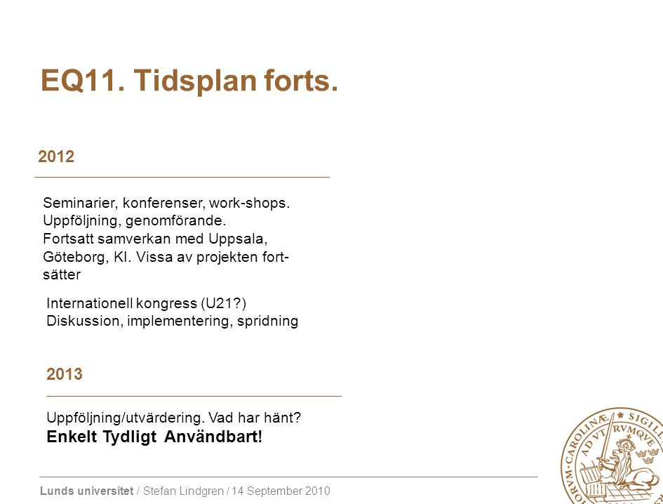 EQ11. Tidsplan forts. 2012 2013 Enkelt Tydligt Användbart!