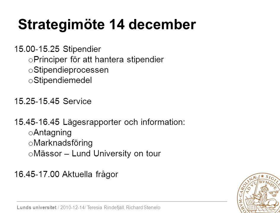 Strategimöte 14 december