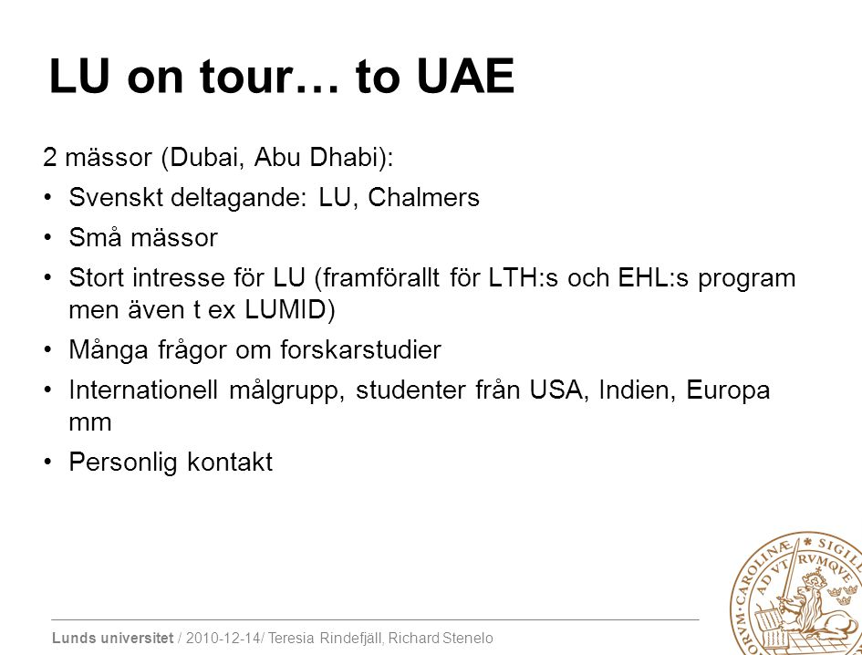 LU on tour… to UAE 2 mässor (Dubai, Abu Dhabi):