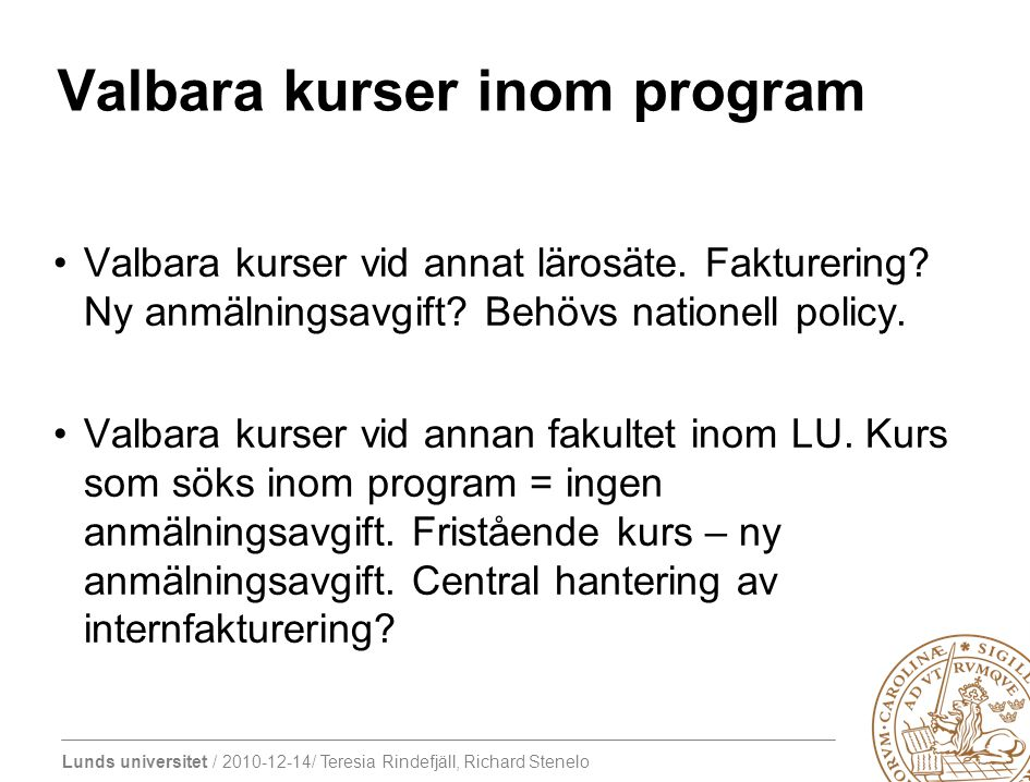 Valbara kurser inom program