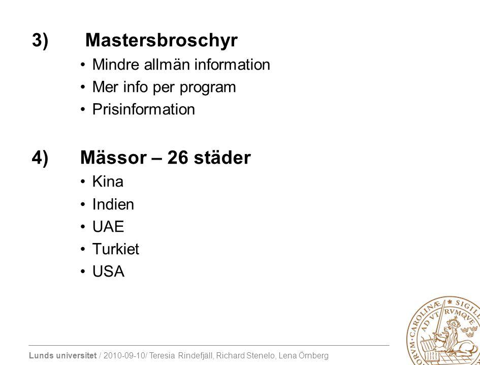 3) Mastersbroschyr 4) Mässor – 26 städer Mindre allmän information