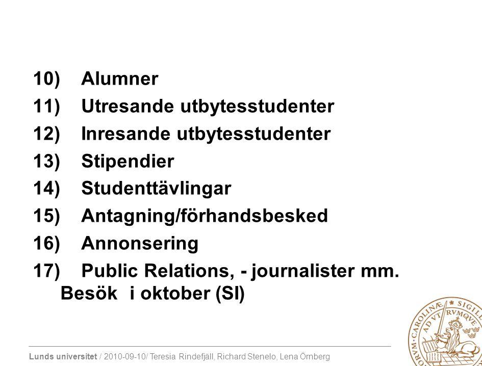 Alumner Utresande utbytesstudenter. Inresande utbytesstudenter. Stipendier. Studenttävlingar. Antagning/förhandsbesked.