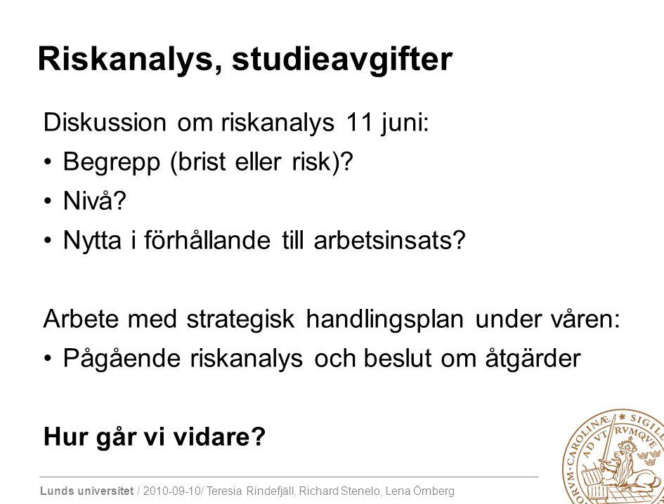 Riskanalys, studieavgifter