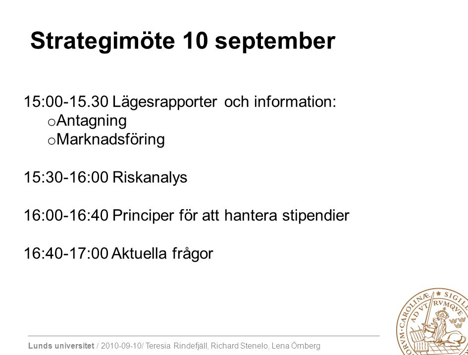 Strategimöte 10 september