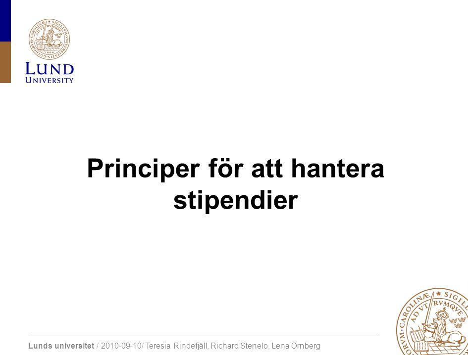 Principer för att hantera stipendier