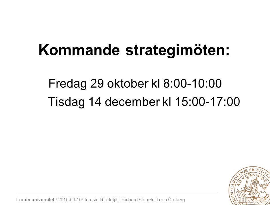 Kommande strategimöten: