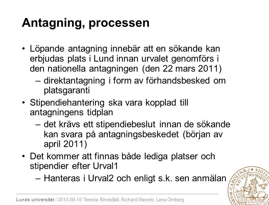 Antagning, processen