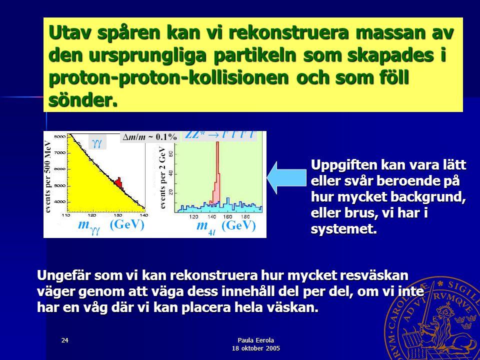 Utav spåren kan vi rekonstruera massan av den ursprungliga partikeln som skapades i proton-proton-kollisionen och som föll sönder.
