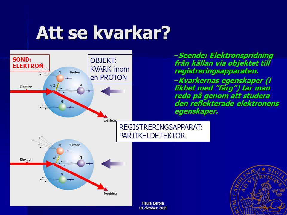 Att se kvarkar Seende: Elektronspridning från källan via objektet till registreringsapparaten.