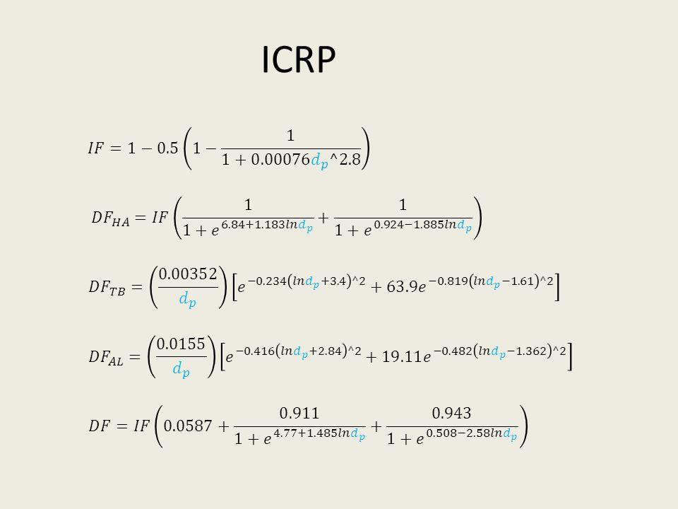 ICRP 𝐼𝐹=1−0.5 1− 1 1+0.00076 𝑑 𝑝 ^2.8. 𝐷𝐹 𝐻𝐴 =𝐼𝐹 1 1+ 𝑒 6.84+1.183𝑙𝑛 𝑑 𝑝 + 1 1+ 𝑒 0.924−1.885𝑙𝑛 𝑑 𝑝.
