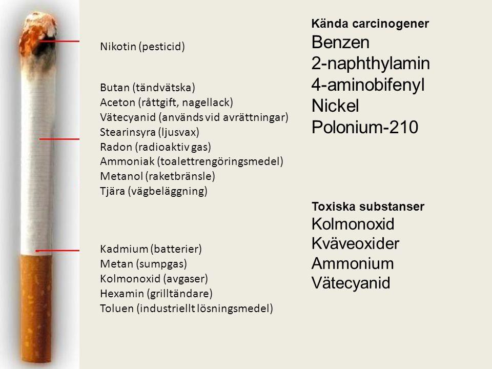 Benzen 2-naphthylamin 4-aminobifenyl Nickel Polonium-210 Kolmonoxid