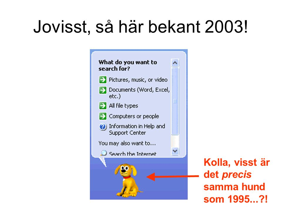 Jovisst, så här bekant 2003! Kolla, visst är det precis samma hund som 1995... !