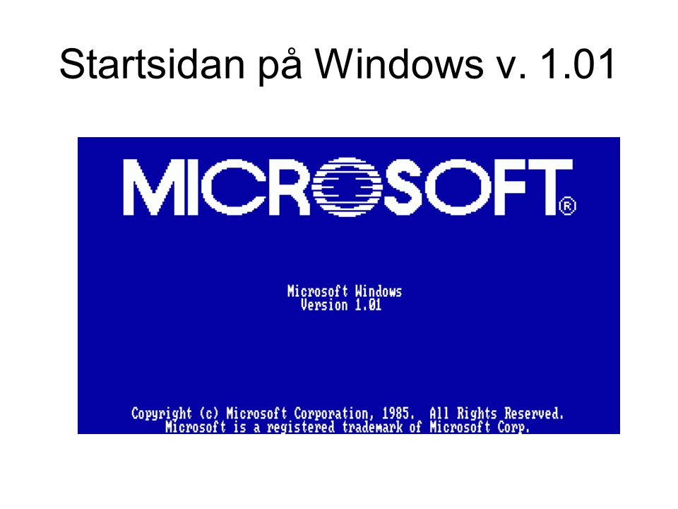 Startsidan på Windows v. 1.01