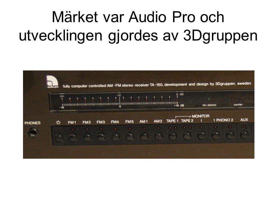 Märket var Audio Pro och utvecklingen gjordes av 3Dgruppen