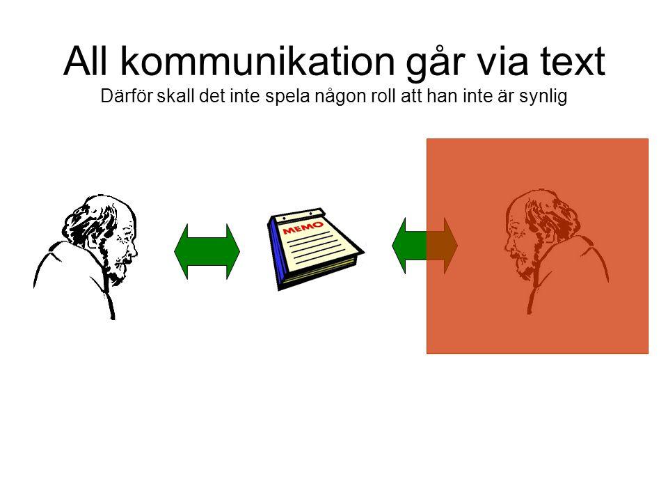 All kommunikation går via text Därför skall det inte spela någon roll att han inte är synlig