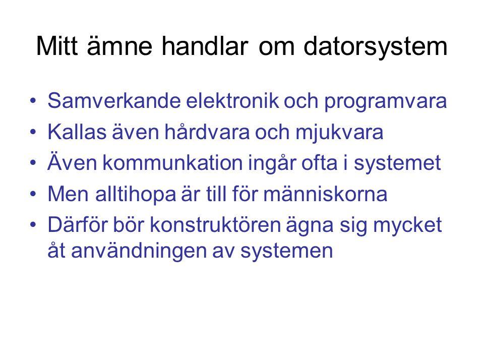 Mitt ämne handlar om datorsystem