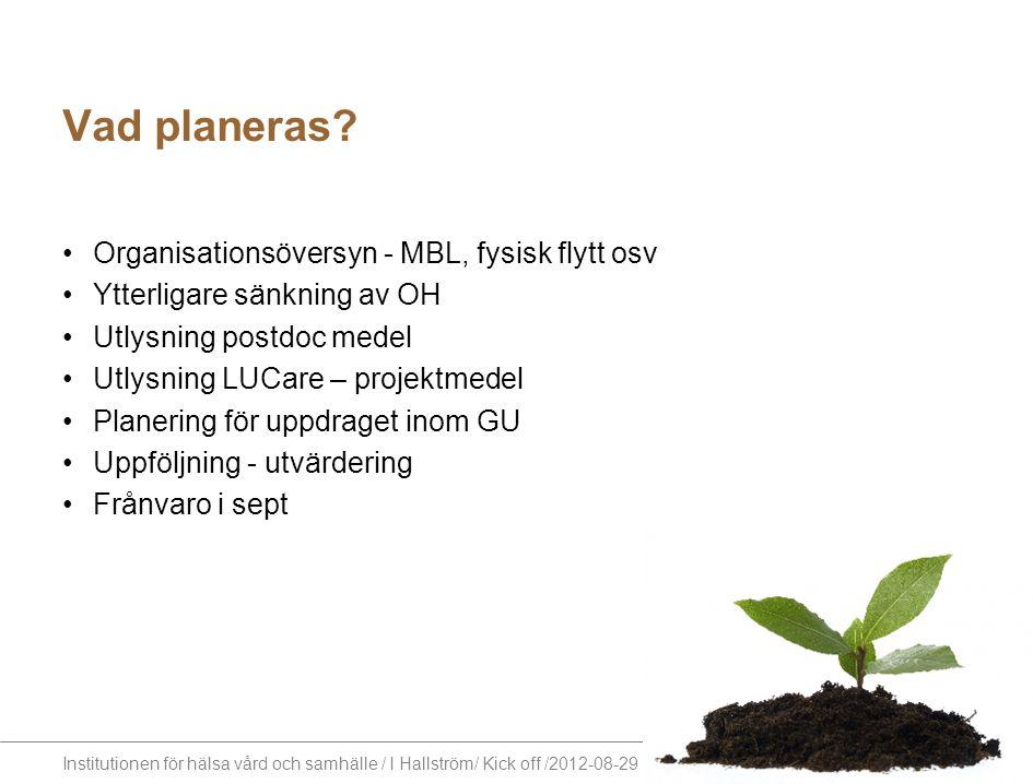 Vad planeras Organisationsöversyn - MBL, fysisk flytt osv