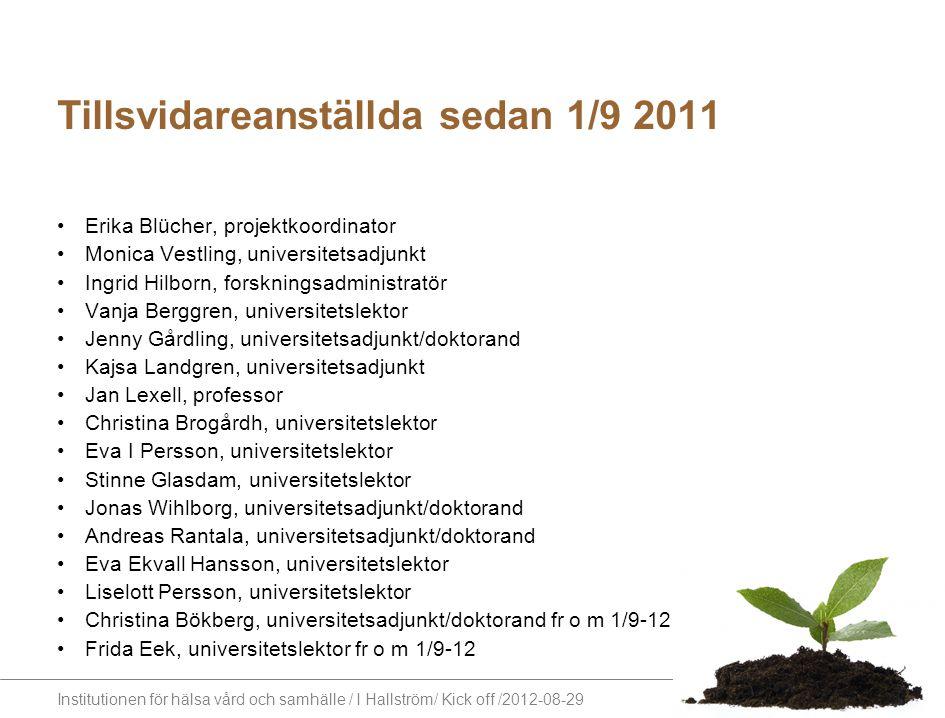 Tillsvidareanställda sedan 1/9 2011