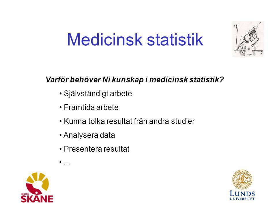 Medicinsk statistik Varför behöver Ni kunskap i medicinsk statistik