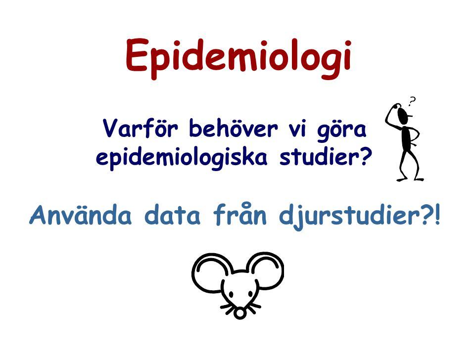epidemiologiska studier Använda data från djurstudier !