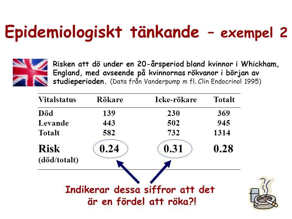 Epidemiologiskt tänkande – exempel 2 Indikerar dessa siffror att det