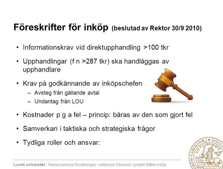 Föreskrifter för inköp (beslutad av Rektor 30/9 2010)