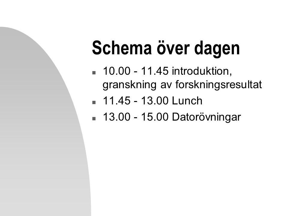 Schema över dagen 10.00 - 11.45 introduktion, granskning av forskningsresultat. 11.45 - 13.00 Lunch.