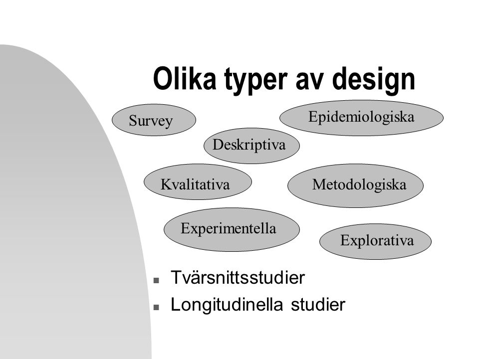 Olika typer av design Tvärsnittsstudier Longitudinella studier