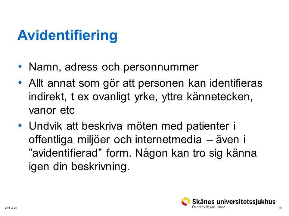 Avidentifiering Namn, adress och personnummer