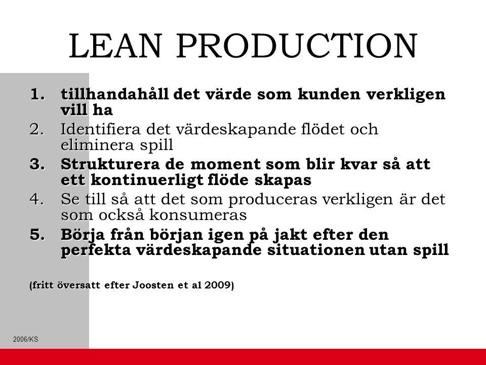 LEAN PRODUCTION tillhandahåll det värde som kunden verkligen vill ha