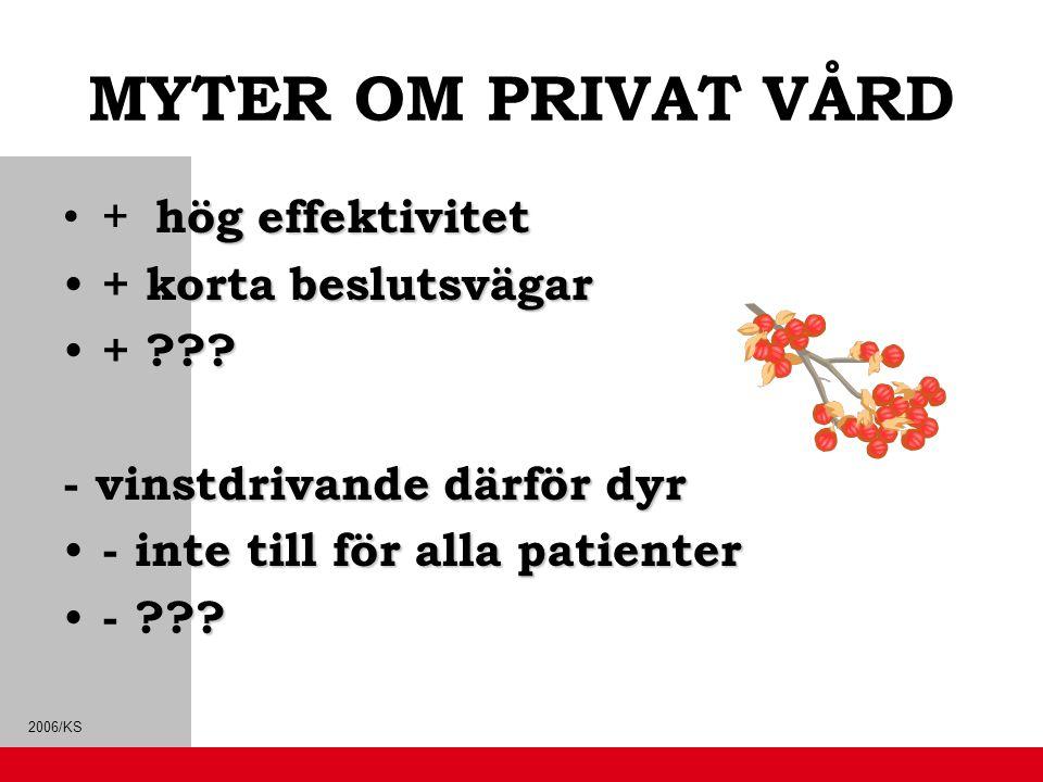 MYTER OM PRIVAT VÅRD + hög effektivitet + korta beslutsvägar +