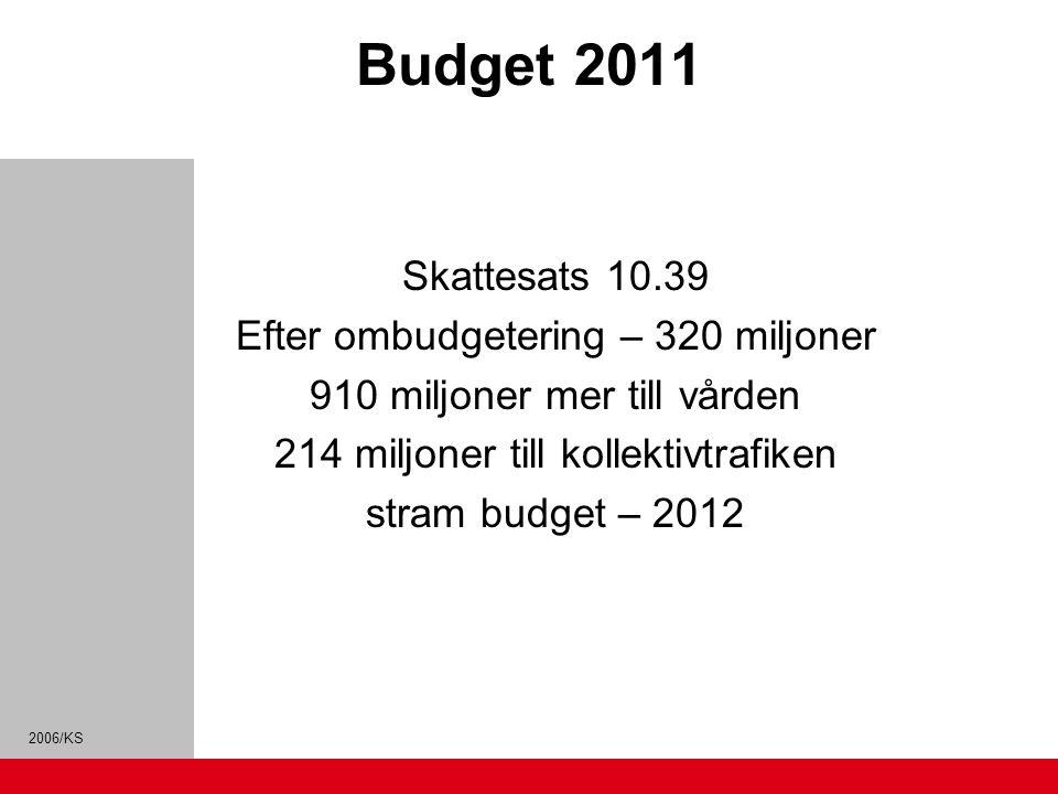 Budget 2011 Skattesats 10.39 Efter ombudgetering – 320 miljoner