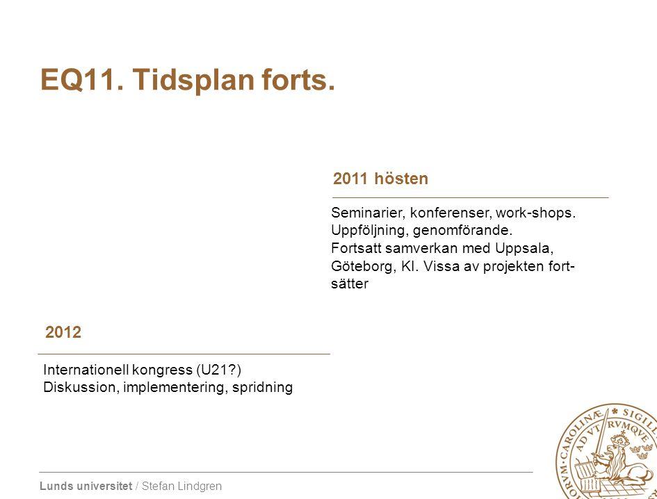 EQ11. Tidsplan forts. 2011 hösten 2012